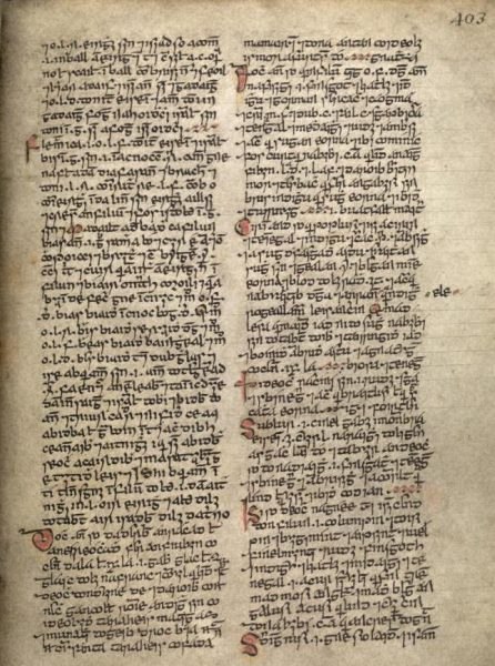 Manuscript featuring the word 'briscugad' (left column, tenth line). (Image: National Library of Ireland, Manuscript G11 403a10. Image, Irish Scripts on Screen www.isos.dias.ie)