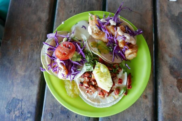 TACOS Grilled Shrimp, Fried Fish, Pastor marinated with Axiote and Pineapple, Tulum, Mexico.