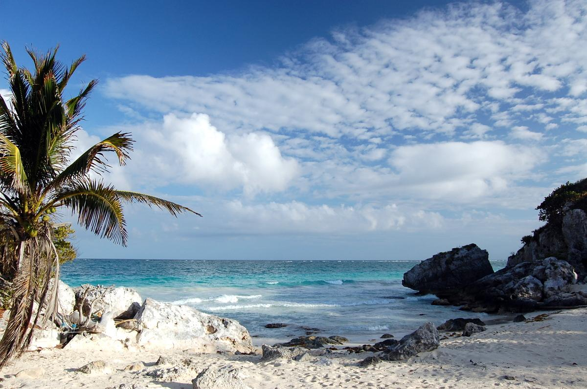 Tulum, pictures beach, white clouds, blue sky, white sand