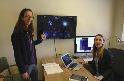 Laura Sales (right), an assistant professor of physics and astronomy at UC Riverside, is seen here with Ethan Jahn, her graduate student. (Image: UCR/Sales group)