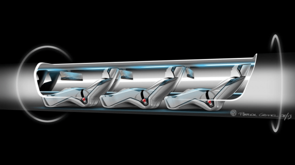 Hyperloop passenger capsule version cutaway with passengers onboard. (Image: SpaceX)