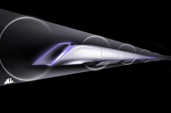 Hyperloop passenger transport capsule conceptual design rendering. (Image: SpaceX)