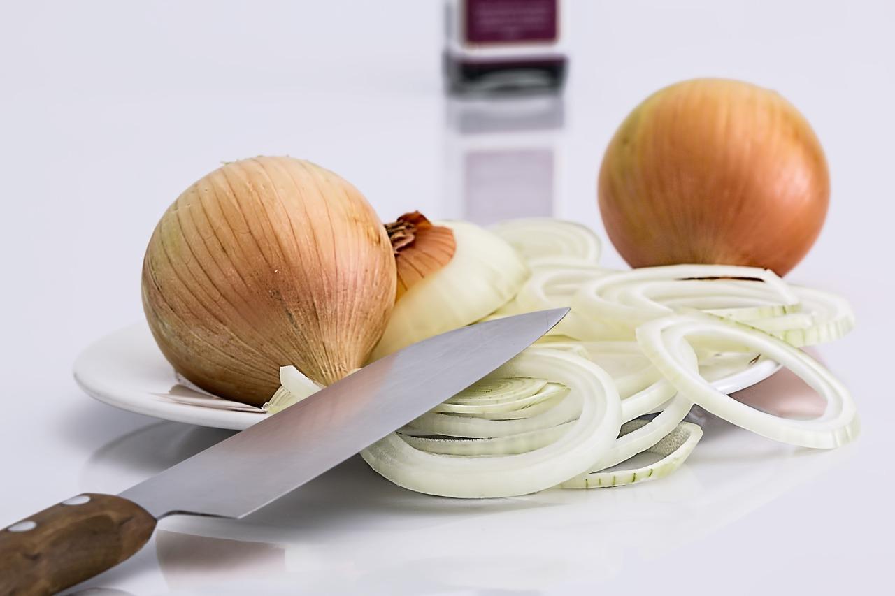 Vegetarian Raw Slice Food Knife Onion Ingredient
