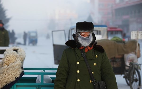 schematic diagram. The picture shows the winter in the Jinhe Town, Hulunbeier, Inner Mongolia. The minimum temperature is -43.8 °C, and the public is frosted on the eyebrows. (Epoch Times Reference Room)