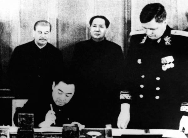 Mao and Stalin signing a friendship treaty between China and the Soviet Union on Feb. 14, 1950. In the early days of communist China, many looked towards Moscow as the future of development in all regards. (Public Domain)