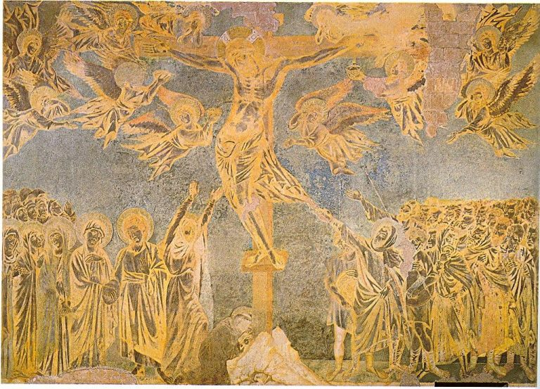 The huge crucifixion scene Cimabue painted at Assisi is considered a painting masterpiece.