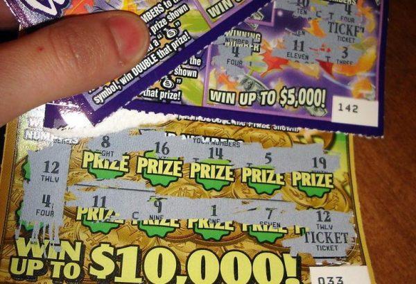 Scratch lottery ticket.