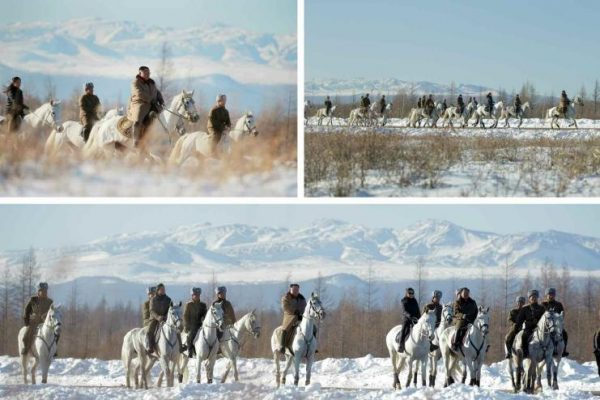 Kim Jong Un and his wife rode on white horses, with their entourage on light gray horses. Ordinary North Koreans ordinary have to climb the mountain on foot. (Image: Rodong Sinmun via Daily NK)