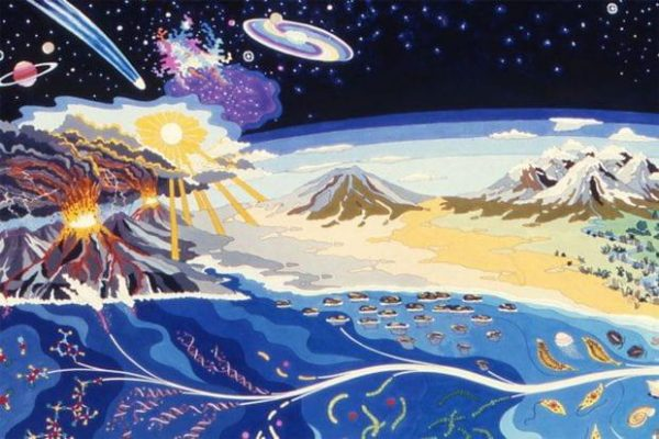 The evolution of life as depicted in a mural at NASA Ames Research Center in Mountain View, California. The rise of oxygen from a trace element to a primary atmospheric component was an important evolutionary development. (Courtesy of NASA Ames/David J. Des Marais/Thomas W. Scattergood/Linda L. Jahnke)