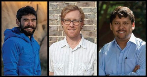 Geoscientists (from left) James Eguchi, Johnny Seales and Rajdeep Dasgupta published a new theory that attempts to explain the first appearance of significant concentrations of oxygen in Earth's atmosphere about 2.5 billion years ago as well as a puzzling shift in the ratio of carbon isotopes in carbonate minerals that followed. (Photos courtesy of Rice University)