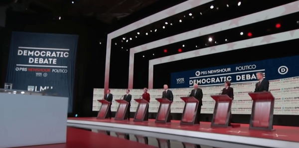 China cut off the feed for the U.S. Democratic debate after they started talking about human rights violations in the country. (Image: YouTube/Screenshot)