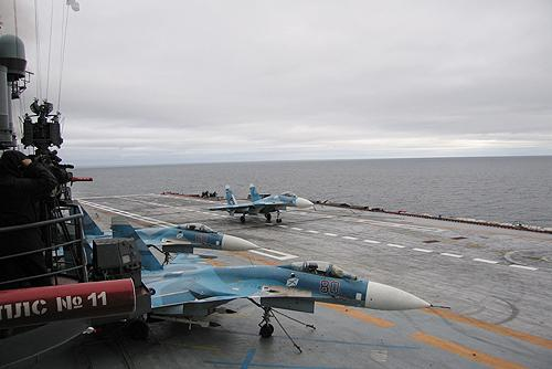 A Russian Su-33, similar to the J-15 used by the Chinese navy, aboard Admiral Kuznetsov in 2008. (Image: Kremlin.ru/CC BY 4.0)