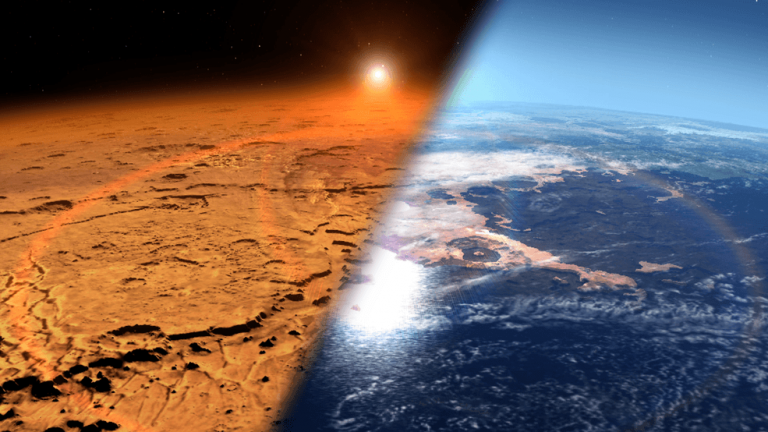 Conceptual image depicting the early Martian environment (right) – believed to contain liquid water and a thicker atmosphere – versus the cold, dry environment seen at Mars today (left). (Image: NASA's Goddard Space Flight Center)