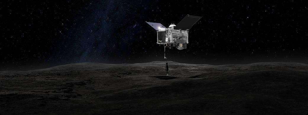 This artist's concept shows the Origins Spectral Interpretation Resource Identification Security - Regolith Explorer (OSIRIS-REx) spacecraft contacting the asteroid Bennu with the Touch-And-Go Sample Arm Mechanism or TAGSAM. The mission aims to return a sample of Bennu's surface coating to Earth for study as well as return detailed information about the asteroid and it's trajectory. (Image: NASA's Goddard Space Flight Center)