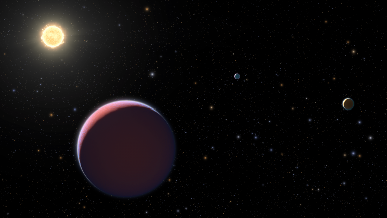 This illustration depicts the Sun-like star Kepler 51 and three giant planets that NASA's Kepler space telescope discovered in 2012–2014. These planets are all roughly the size of Jupiter but a tiny fraction of its mass. This means the planets have an extraordinarily low density, more like that of Styrofoam rather than rock or water, based on new Hubble Space Telescope observations. The planets may have formed much farther from their star and migrated inward. Now their puffed-up hydrogen/helium atmospheres are bleeding off into space. Eventually, much smaller planets might be left behind. The background starfield is correctly plotted as it would look if we gazed back toward our Sun from Kepler 51's distance of approximately 2,600 light-years, along our galaxy's Orion spiral arm. However, the Sun is too faint to be seen in this simulated naked-eye view. (Image: NASA, ESA, and L. Hustak, J. Olmsted, D. Player and F. Summers (STScI))