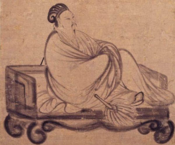 An illustration by Zhang Feng's depicting Zhuge Liang reclining on a daybed. (Image: wikimedia / CC0 1.0)
