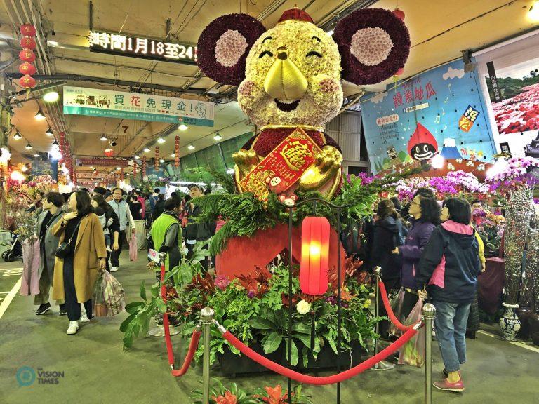 The Mscot Rat made of flowers at Taipei Jianguo Holiday Flower Market. (Image: Billy Shyu / Nspirement)