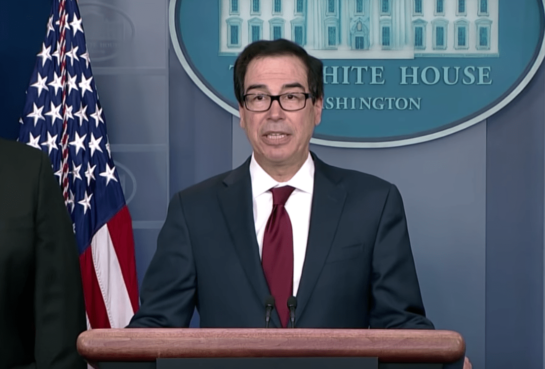 Treasury Secretary Steve Mnuchin announcing new sanctions against Iran. (Image: YouTube/Screenshot)