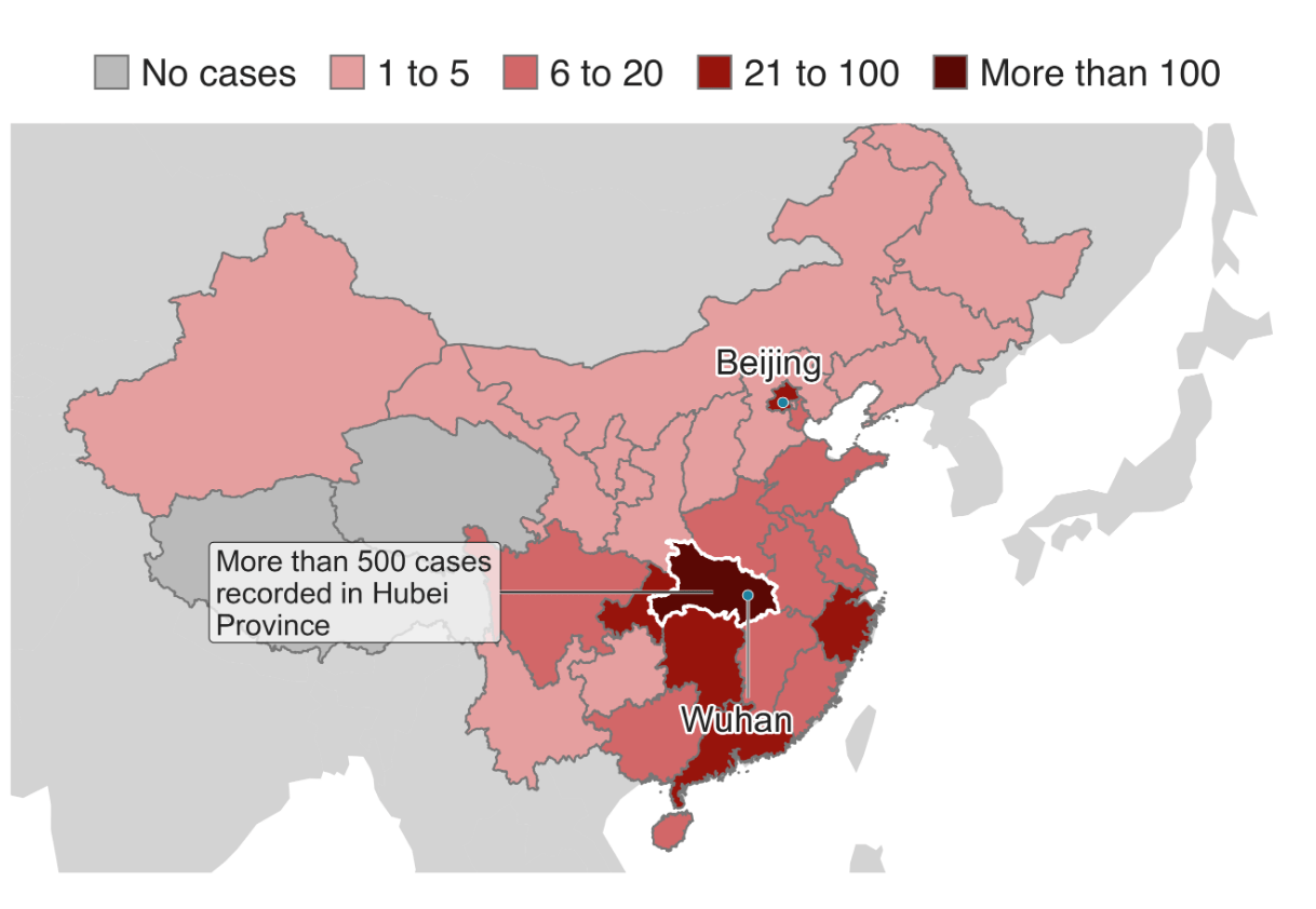 The virus, which was first discovered in the city of Wuhan in Hubei province has spread to almost every province in China with the number of infections rising to over 800 with 26 reported deaths. (Image: China National Health Commission/BBC)