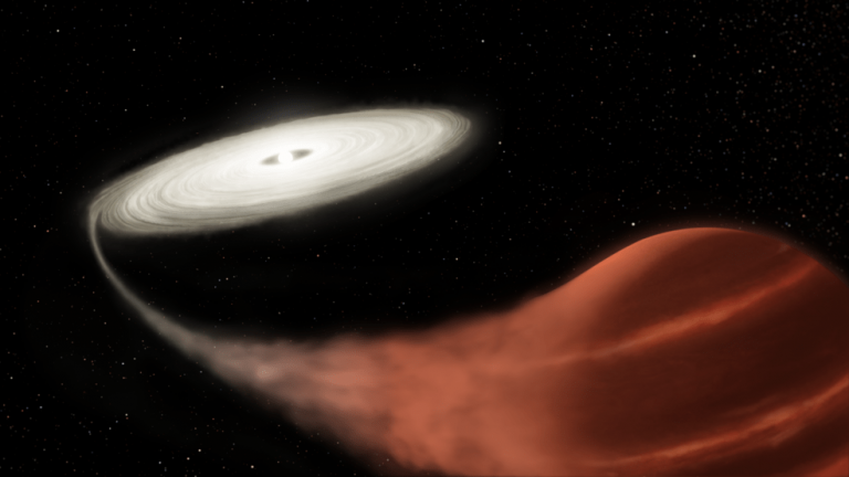 This illustration shows a newly discovered dwarf nova system, in which a white dwarf star is pulling material off a brown dwarf companion. The material collects into an accretion disk until reaching a tipping point, causing it to suddenly increase in brightness. Using archival Kepler data, a team observed a previously unseen, and unexplained, gradual intensification followed by a super-outburst in which the system brightened by a factor of 1,600 over less than a day. (Image:: NASA and L. Hustak (STScI))