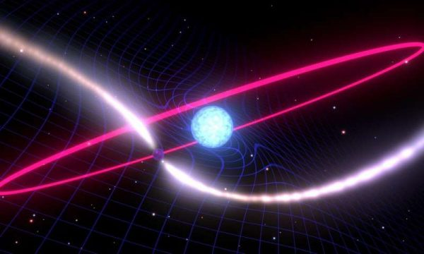 Artist's depiction of a rapidly spinning neutron star and a white dwarf dragging the fabric of space time around its orbit. (Image: Mark Myers, OzGrav ARC Centre of Excellence)