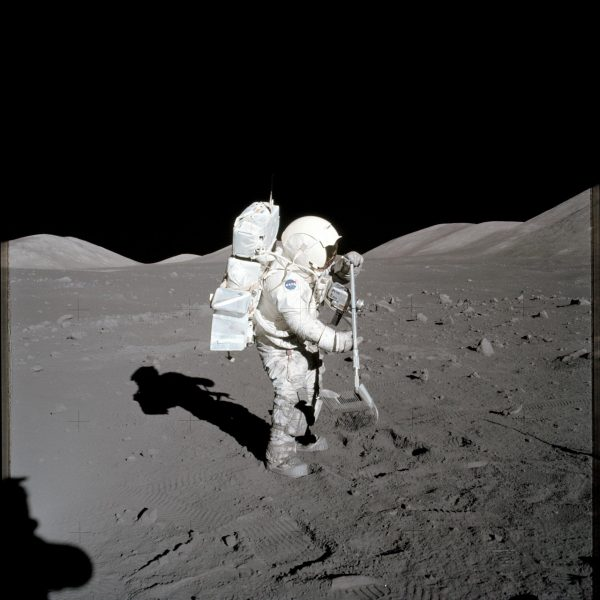 Apollo 17 astronaut and geologist Harrison Schmitt in 1972 collecting samples of lunar soil that would later be used in this study. (Image: NASA)