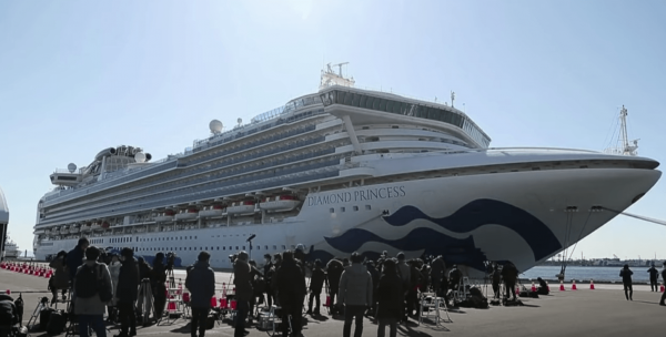 The Diamond Princess, saw 44 new cases, bringing the total there to 218. (Image: YouTube/Screenshot)