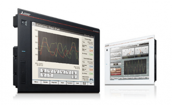 HMIs — human-machine interfaces — are the critical link between the machines doing the work, the programmable logic controllers providing instructions, and the people overseeing them. (Image: mitsubishielectric.com)