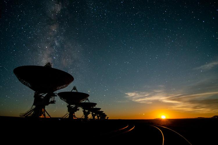 Moonset, around 2:30 a.m., at the Very Large Array on the Plains of San Agustin, about 50 miles west of Socorro, New Mexico. The VLA is teaming up with the SETI Institute to capture data that can be searched for intelligent signals.