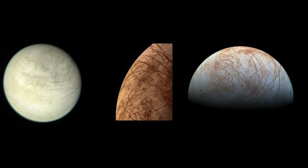 On the left is a view of Europa taken from 2.9 million kilometers (1.8 million miles) away on March 2, 1979 by the Voyager 1 spacecraft. Next is a color image of Europa taken by the Voyager 2 spacecraft during its close encounter on July 9, 1979. On the right is a view of Europa made from images taken by the Galileo spacecraft in the late 1990s. (Image: NASA/JPL)