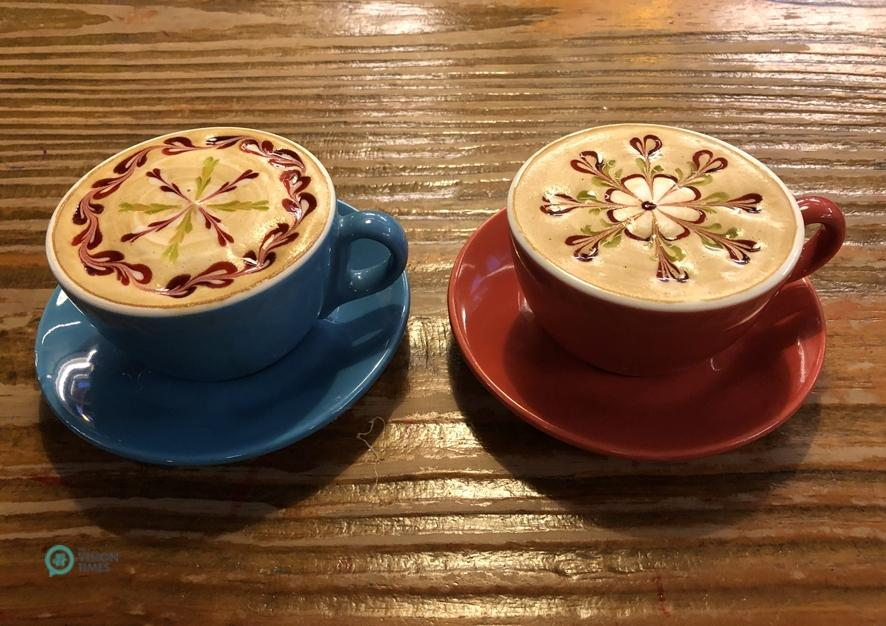 A beautiful latte art design of Muhezi Yaokao Pizza Cafe. (Image: Julia Fu / Vision Times)