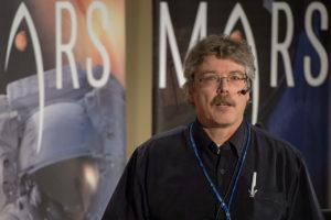 Dirk Schulze-Makuch, Technical University Berlin/Washington State University, speaks during the First Landing Site/Exploration Zone Workshop for Human Missions to the Surface of Mars held at the Lunar and Planetary Institute, Wednesday, Oct. 28, 2015, in Houston, Texas. The agency is hosting the workshop to collect proposals for locations on Mars that would be of high scientific research value while also providing natural resources to enable human explorers to land, live and work safely on the Red Planet. Photo Credit: (NASA/Bill Ingalls)
