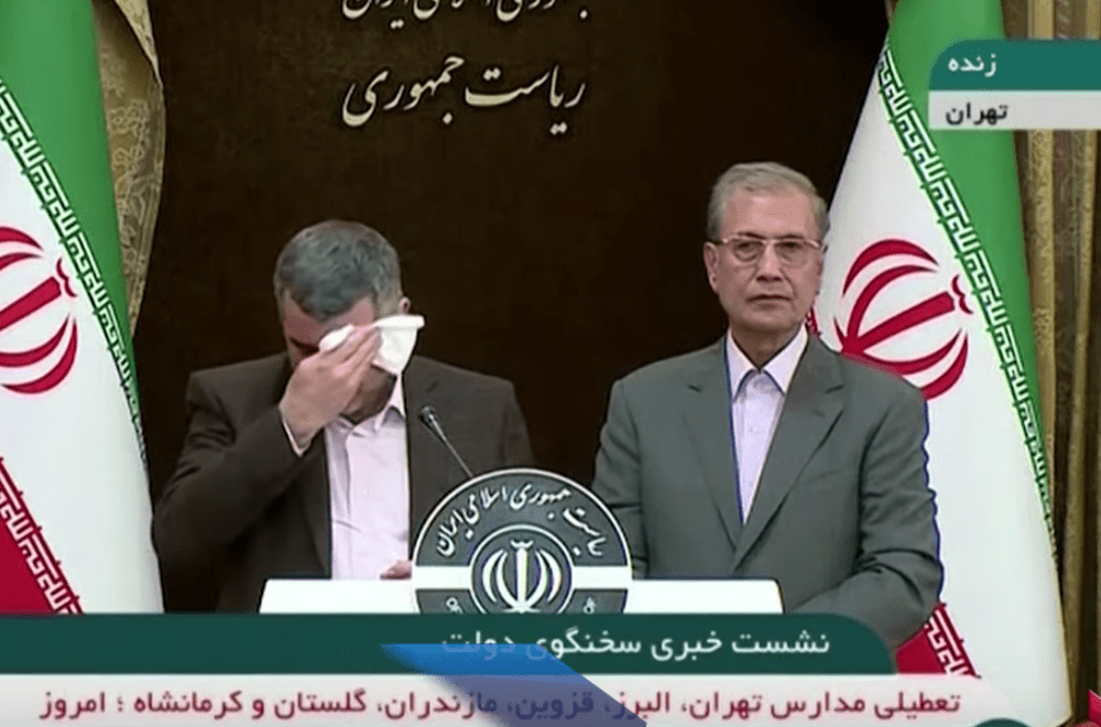 Iran's deputy health minister and head of the country's counter-coronavirus task force Iraj Harirchi appeared to be ill at a news conference about COVID-19 cases in Tehran. (Image: YouTube/Screenshot)