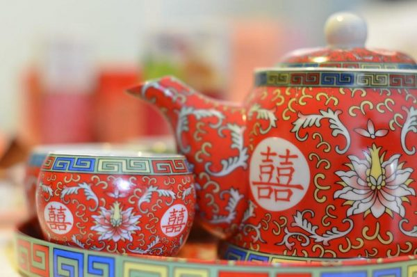 A red Chinese Tea set, commonly used at Chinese weddings.