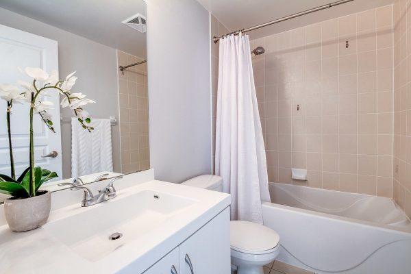 Bathroom of a Toronto Lakeshore condo.