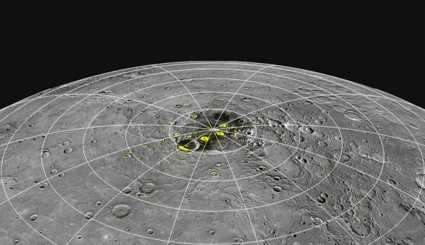 Despite Mercury's daytime Vulcan heat, there is permanent ice at the poles, according to data and images from a NASA probe that visited Mercury in 2011. (Image: NASA / MESSENGER)