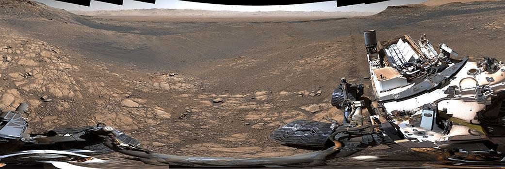 NASA's Curiosity rover captured its highest-resolution panorama yet of the Martian surface between Nov. 24 and Dec. 1, 2019. A version without the rover contains nearly 1.8 billion pixels; a version with the rover contains nearly 650 million pixels. Both versions are composed of more than 1,000 images that were carefully assembled over the following months. The rover's Mast Camera, or Mastcam, used its telephoto lens to produce the panorama and relied on its medium-angle lens to produce a lower-resolution panorama that includes the rover's deck and robotic arm. Malin Space Science Systems in San Diego built and operates Mastcam. A division of Caltech, NASA's Jet Propulsion Laboratory manages the Mars Science Laboratory mission for the agency's Science Mission Directorate in Washington and built the Curiosity rover. (Image: NASA/JPL-Caltech/MSSS)