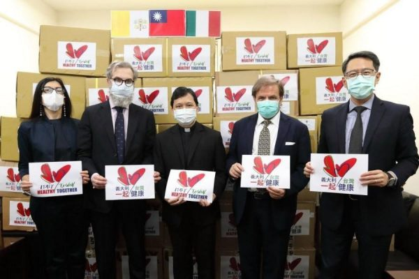 The medical supplies donated to Italy via the Embassy of the Holy See to Taiwan. (Image: Ministry of Foreign Affairs, Taiwan)
