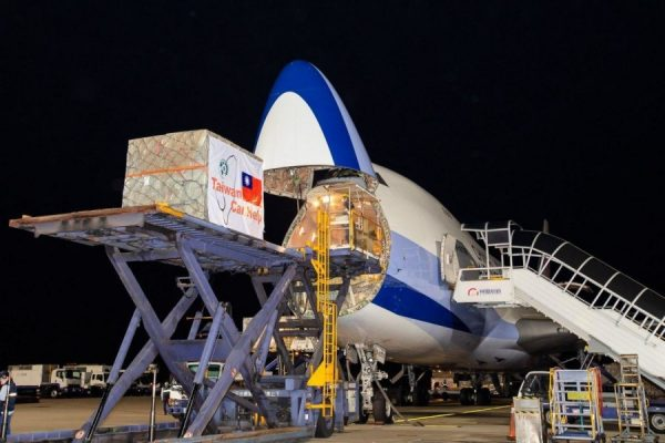 Part of the medical supplies donated by Taiwan are loaded into a Taiwanese airline's cargo aircraft. (Image: Ministry of Foreign Affairs, Taiwan)