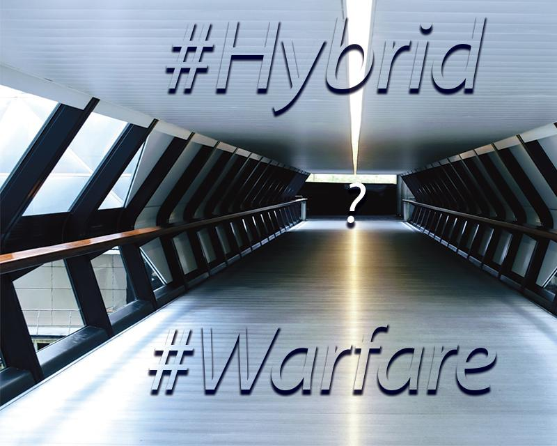 A cyper-like tunnel framing a questionmark that's asking What is Hybrid Warefare
