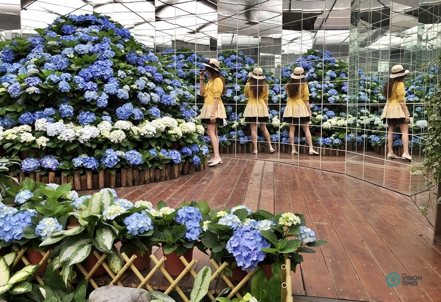 """The """"Flowers in Mirrors"""" in Orchid Hall. (Image: Billy Shyu / Vision Times)"""