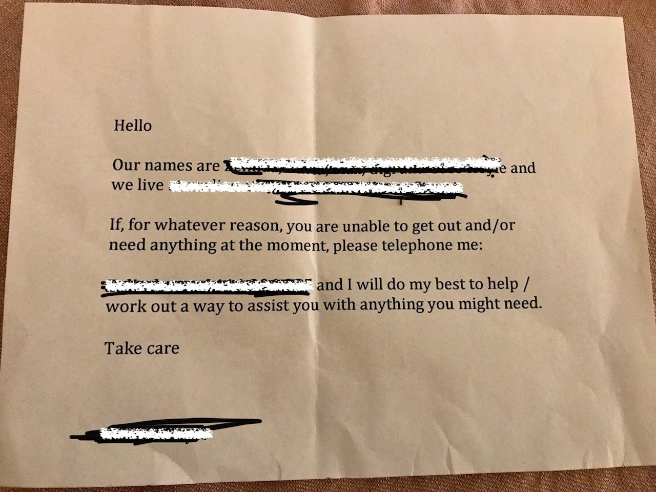 Countless acts of kindness are hitting the news and being spread on social media. Neighbours are leaving notes in each other's letterboxes offering help to those in need. Image: courtesy of Laura Cozzolino