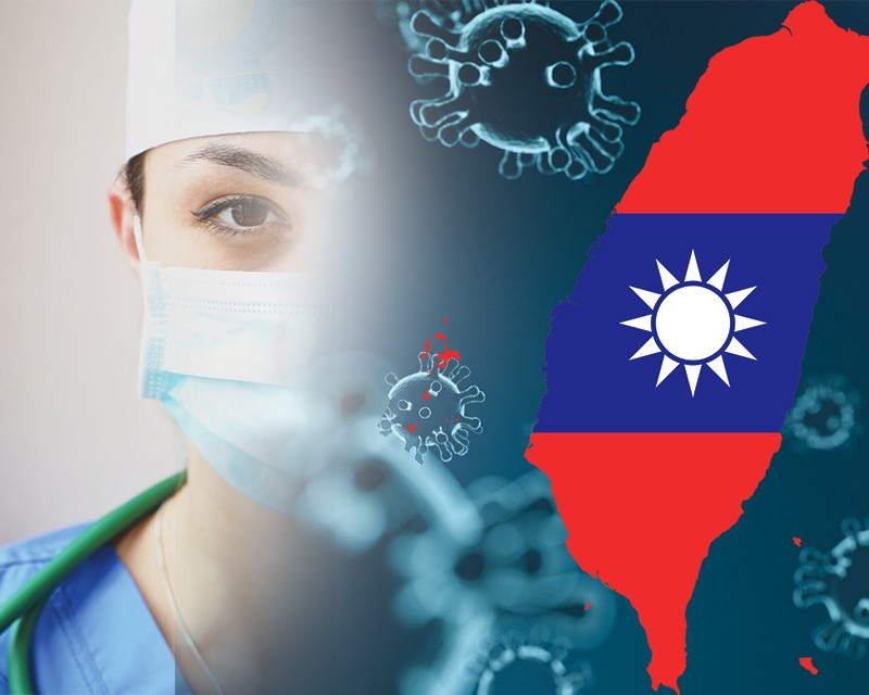 Medical Professional as a backdrop to coronavirus and the Taiwanese flag.
