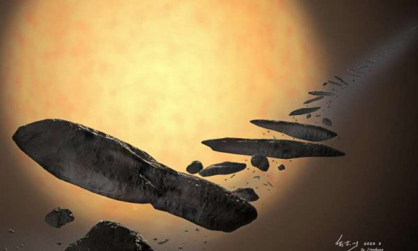 An artist's impression of 'Oumuamua formation. (Image: YU Jingchuan from Beijing Planetarium)