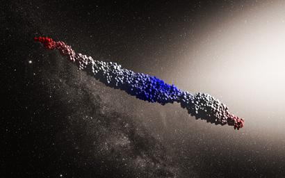 An 'Oumuamua-like object produced by a simulation of the tidal disruption scenario proposed by Zhang and Lin. (Image: NAOC/Y. Zhang; background: ESO/M. Kornmesser)