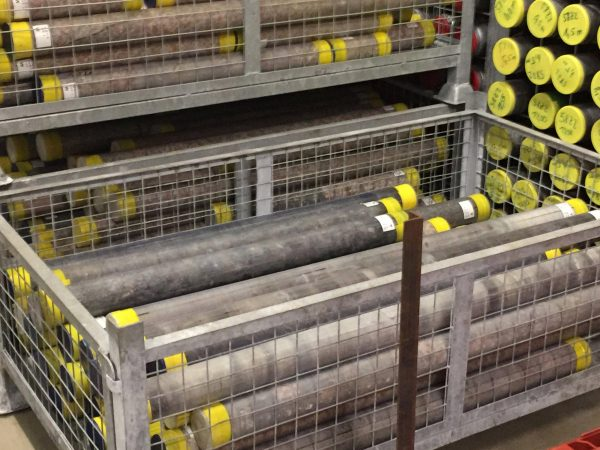 Portion of Expedition 364 rock core. (Image: Kring@ECORD_IODP)
