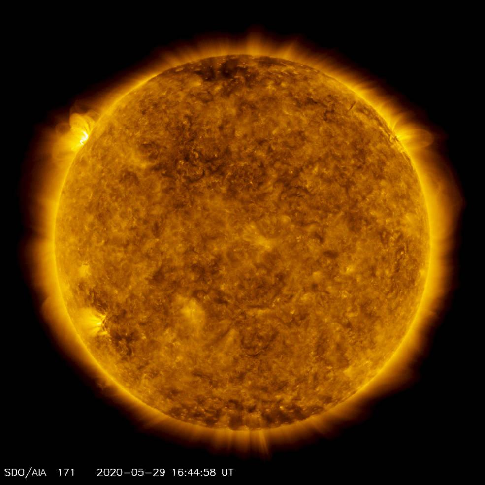 On the upper left side of this image from May 29, 2020, from NASA's Solar Dynamics Observatory — shown here in the 171-angstrom wavelength, which is typically colorized in gold — one can see a spot of light hovering above the left horizon. This light emanates from solar material tracing out magnetic field lines that are hovering over a set of sunspots about to rotate over the left limb of the Sun. (Image: NASA/Solar Dynamics Observatory/Joy Ng)