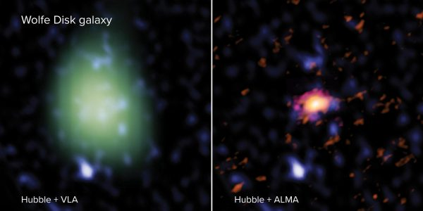 The Wolfe Disk as seen with ALMA (right - in red), VLA (left - in green) and the Hubble Space Telescope (both images - blue). In radio light, ALMA looked at the galaxy's movements and mass of atomic gas and dust and the VLA measured the amount of molecular mass. In UV-light, Hubble observed massive stars. The VLA image is made in a lower spatial resolution than the ALMA image, and therefore looks larger and more pixelated. (Credit: ALMA (ESO/NAOJ/NRAO), M. Neeleman; NRAO/AUI/NSF, S. Dagnello; NASA/ESA Hubble)