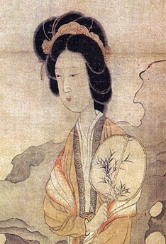 A portrait of a lady holding a rigid (oval) fan from the painting Appreciating Plums, by Chinese artist Chen Hongshou. (Image: Wikimedia / CC0 1.0)