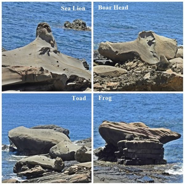 The rock formations of sea lion, boar head, toad and frog at Jialeshuei Scenic Area. (Image: Billy Shyu / Vision Times)